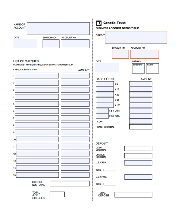 Sample Deposit Slip Template