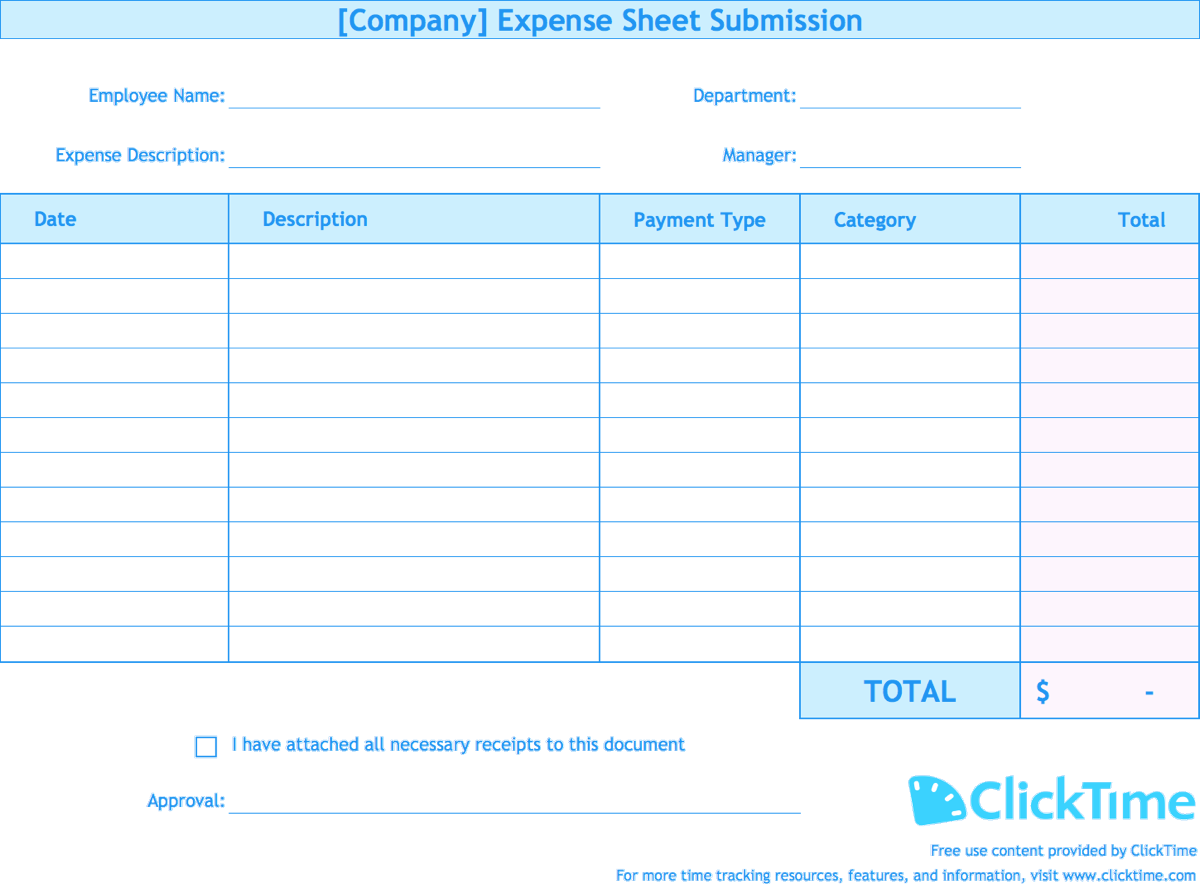 Employee Expense Report Template Docs, Xlsx & PDF