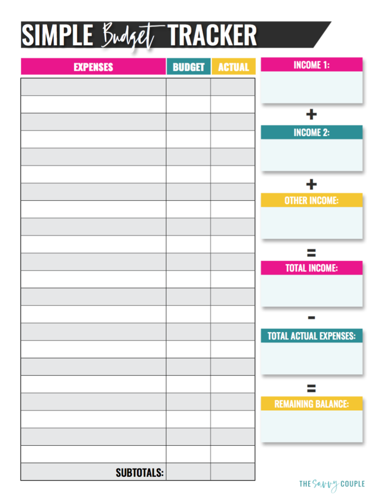 Simple Monthly Budget Tracker